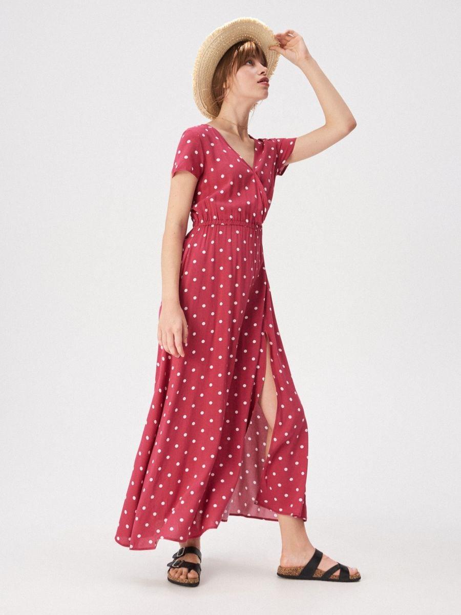 fac81f85 Czerwona sukienka w groszki, SINSAY, VP263-MLC