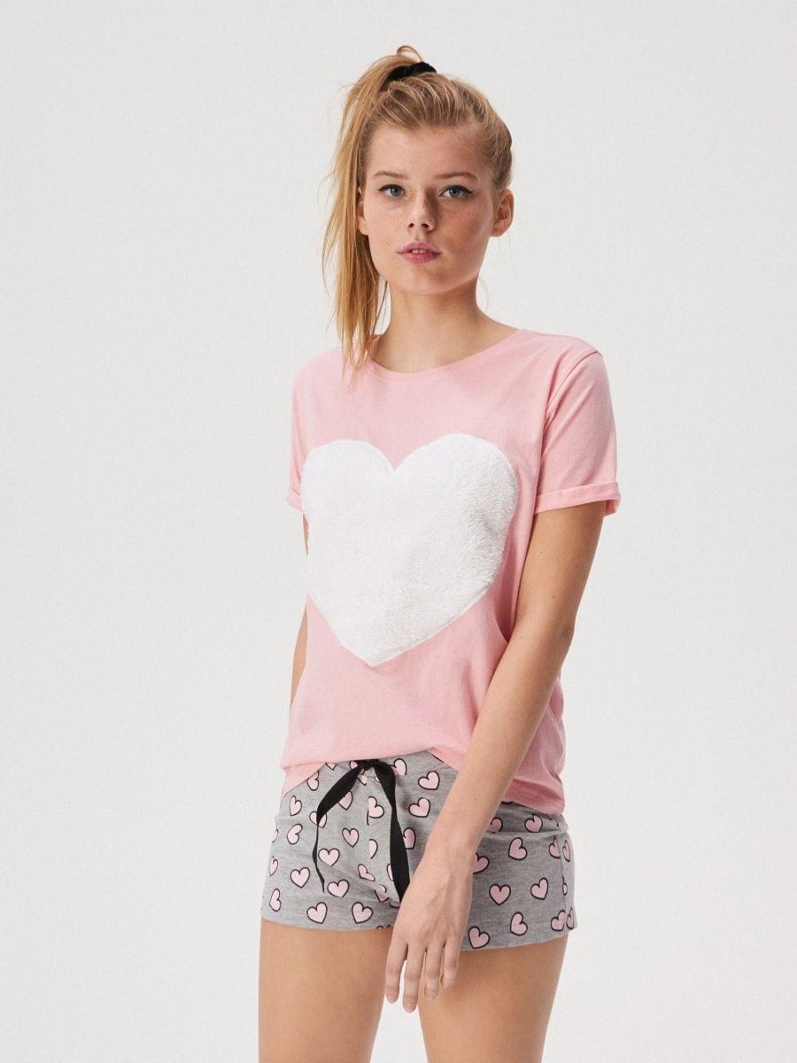 deft design cute cheap sale retailer Two piece pyjama set with fluffy heart print, SINSAY, WP994-03X