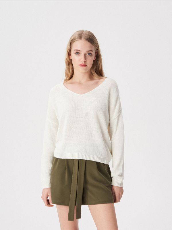 187441a2903e Krátky prúžkovaný pletený sveter · Voľný basic sveter - krémová - UW759-01X  - SINSAY