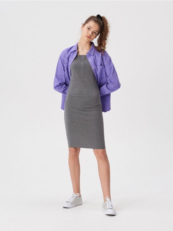 910842e8fd4b Pásikavé šaty polo · Šaty s odhalenými ramenami - šedá - VF670-90M - SINSAY